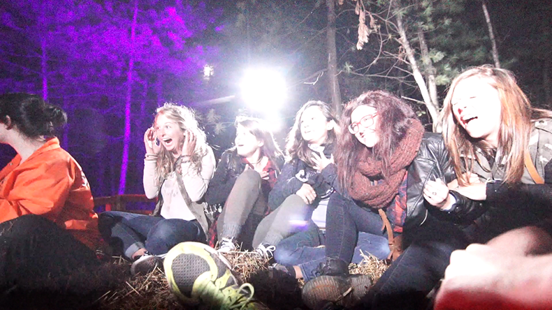 Guests scream during the Haunted Hayride